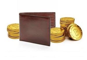Кошелек коричневого цвета, золотые монетки